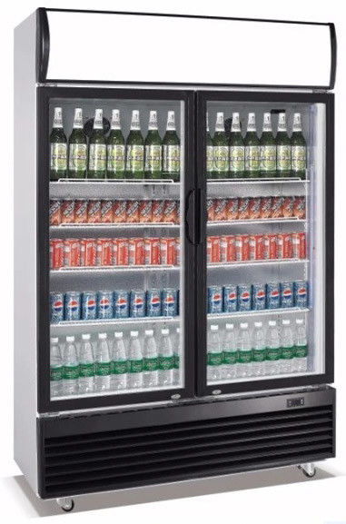 830L Upright 2 Door Display Fridge Direct Cooling System With Evaporator Fan