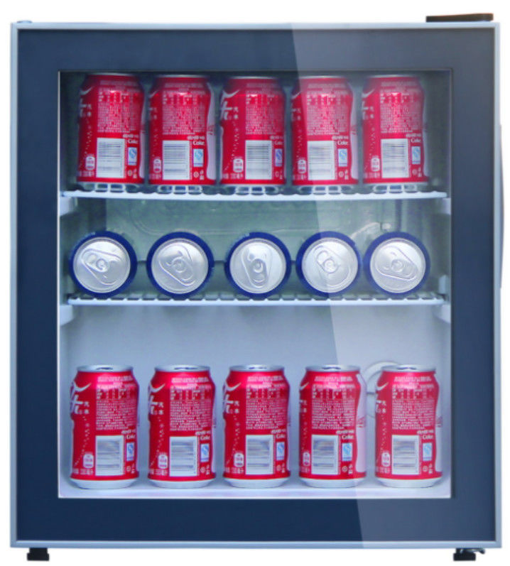48L Low Noise Mini Display Fridge / Glass Door Refrigerator Beverage Cooler